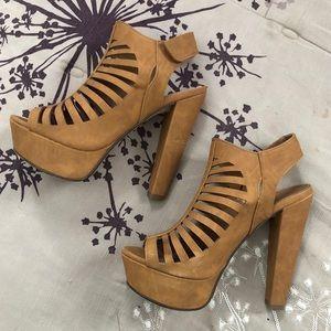 Chunky Brown Platform Heels